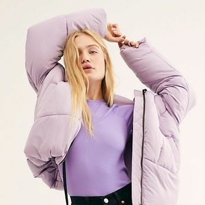Free People Hailey Puffer NWT in Lilac Cloud